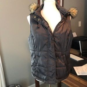 Super Cute Grey Fur Hooded Zip Up Vest